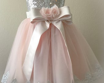 Flower girl dress, wedding dress,couture infant dress, girl dress, special occasion dress, blush Pink girl dress