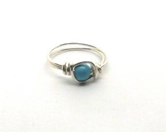 4 mm Sleeping Beauty Turquoise Bead Ring