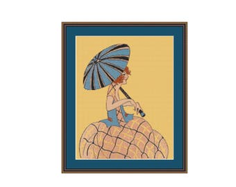 2 for 1 SALE! - Art Deco Girl with Blue Parasol  Cross Stitch Pattern, Women's Fashion Counted Cross Stitch Chart (P-191)