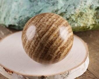 Banded ARAGONITE Sphere with Stand - M or L Aragonite Stone, Aragonite Crystal Ball, Natural Aragonite, Healing Stone, Healing Crystal E0228