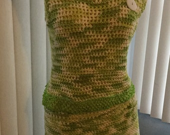 Crocheted summer skirt with matching top