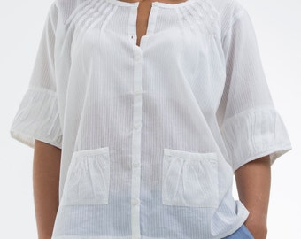 """Shirt """"CHARLES"""" 100% cotton dobby, clothing for woman, gift, summer, spring, high"""