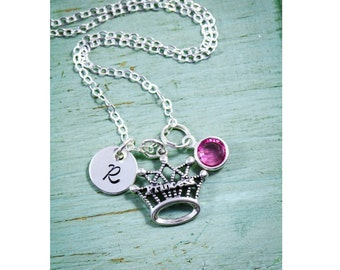 Princess Gift Necklace Princess Sterling Silver Jewelry • Princess Crown Gift Princess Party Favor Gift Idea Little Girl Necklace