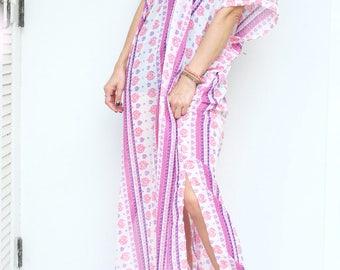 Pink Purple Strip Chiffon Beach Dress Swimsuit Bikini Cover Up | Casual Maxi Short Sleeve Dress | Spring/Summer Dress