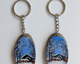 Horse Barns in Winter - Hand-painted Keychains