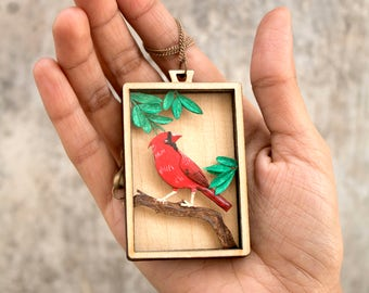 Free shipping  Red cardinal  Bird jewellery  Papercut pendant  Paper jewellery  Papercut  Paperart  Handcut  Papercraft  NVillustration