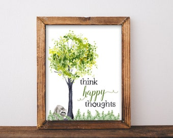 "Woodland Watercolor Printable Quote Saying ""Think Happy Thoughts"" Art Print digital Instant Download woodland tree raccoon fern art print"