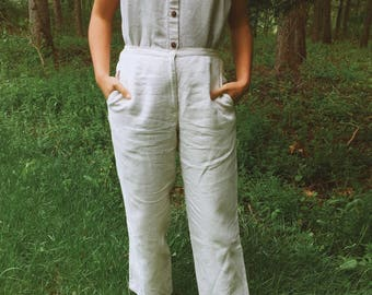 """High waisted 100% natural linen trousers with pockets and elastic waist. 27""""+"""