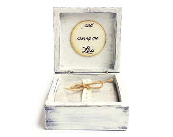 Proposal ring box Marry me, Engagement ring box, Wood ring bearer box, Shabby Distressed White ring box, Shabby ring holder box pillow