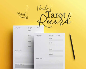 Printable Daily Tarot Card Draw -- Planner Page -- Tarot Spreads -- Record Page