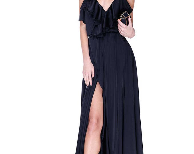 Evening Black Dress, Elegant Prom Dress, Long Bridesmaids Dress, Cocktail Dress, Ruffle Dress, Side Slit Dress