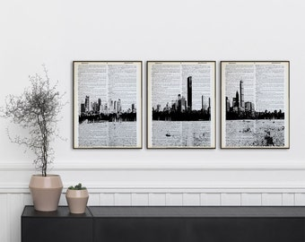 Set Of 3 Boston Dictionary Prints Boston Skyline Poster Panorama Boston  Panoramic Print Black And White