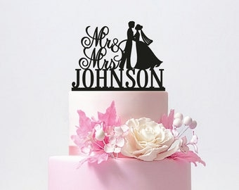 Personalized Mr and Mrs Wedding Cake Topper with YOUR Last Name / ST001