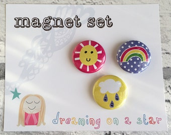 Kawaii Magnet, Fridge Magnet, Kawaii Stationery, Cute magnets, Party Favors, Cute Gift, Magnet Set, Round Magnet, Birthday, Happy