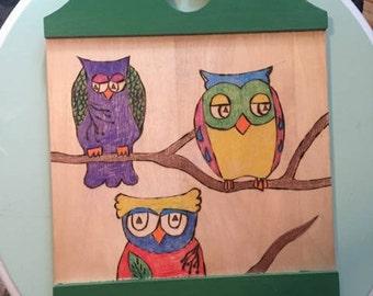 Colorful Owl Trio Plaque