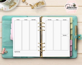 Planner Refill A5 - Week on Two Pages - PRINTED Weekly Planner Refill - A5 Planner Refill Inserts Undated - Kikki-K Filofax WO2P [A5CA-014]