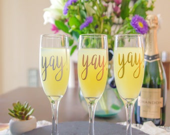 Yay Champagne Glasses, Wedding Party, Champagne Flute, Wedding Glasses, Bridal Shower, Bride and Groom, Toasting Glasses, Personalized Glass