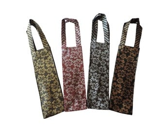 Set of 4 -Wine carrier- wine bag- wine gift bags- wedding favours- wine bottle holder- non woven bags -Re usable Wine bag- eco friendly bags