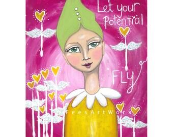 Whimsical Art, Positive affirmation, Decorative wall art