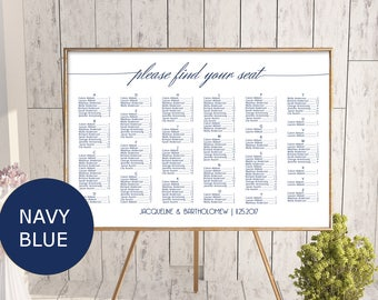 Navy Blue Wedding alphabetical seating chart template, printable seating chart, editable seating plan, find your seat sign