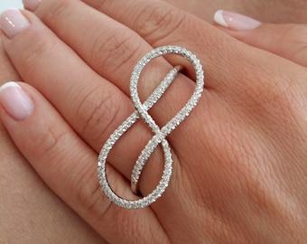 Infinity ring, White gold diamonds, 2 fingers ring, 1 carat diamond ring, infinity band, Plain Gold Ring Promise Ring, gold eternity ring