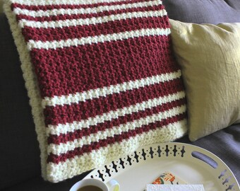 The 'Flix & Chill throw - White Wine, Red Wine (hand-crocheted chunky throw, warm holiday gift)