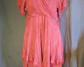 1980s Slouchy Bohemian Pink One Piece Dress | Tiered Layers | Wrap Front Dress | Frayed Edges | Size Medium 10 | Wabi-sabi