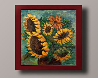 Sunflowers wall art Abstract Sunflowers decor Sunflowers print Sunflowers art Acrylic painting poster 12 x 12 inches