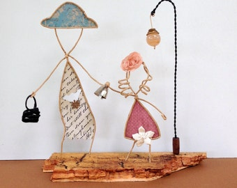 WIRE SCULPTURE – Paper wire art figures, Wire art mixed media, Abstract wire sculpture, Paper art, Mixed media sculpture, Minimalist decor