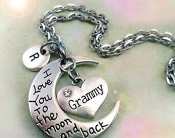 Grammy I Love You to the Moon and Back Grammy Necklace Personalized w-Letter Charm, Grammy Birthday, Grammy Gift, Special Grammy