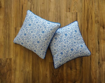 Liberty blue and White Cushion cover