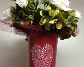 Heart vase & white roses