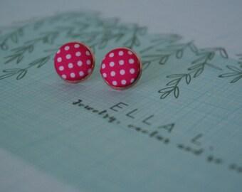 Pinkilicious white dots - polka dot fabric -  polka dot - pink jewelry - pink earrings - stud earrings - earrings - studs - 12 mm in size