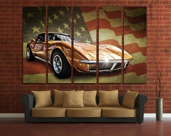Muscle Car Wall Art Multi Panels Set USA Flag Wall Art Cars Canvas Art  Muscle Car Print Poster Large Wall Decor Canvas