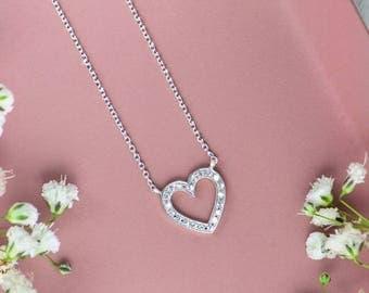 SUMMER SALE, Diamond Heart Necklace, 18K Gold Necklace, White Gold, Diamond Necklace, Gold Heart Necklace, Natural Diamonds, 9K Gold Charm