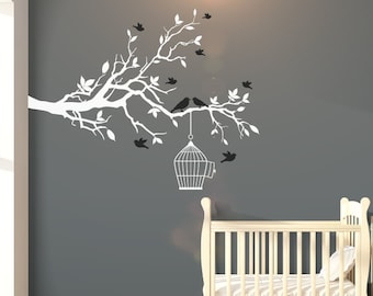 Large Nursery Tree Wall Decal With Flying Birds & Bird Cage - Tree Wall Art Decal/Stickers For Children