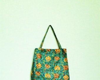 flower bag / floral bag / floral tote bag / shopping bag / floral tote / yellow flower bag / yellow leather bag / turquoise flower bag