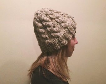 Handmade Oatmeal Cable Knit Beanie