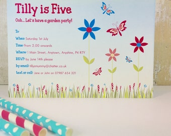 Pack of 16 Butterfly Garden Personalised Party Invites or Thank You Cards