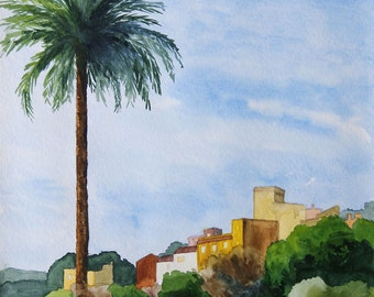 Bergdorf, GranCanaria, Canary Islands, fine-print 20x30 cm, poster 30x40 cm, fine-print 29, 7x42 cm, original watercolor 36x48 cm