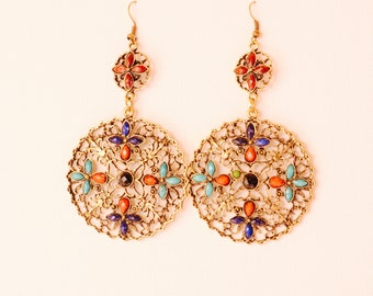 Vintage Large Round Earrings