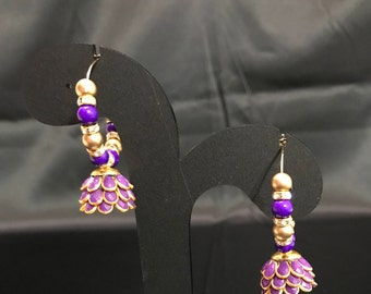 Indian Jewelry - Purple Jhumki Earrings - Jhumka Earrings - Kundan Jewelry - Indian Bridal - Pakistani Earrings - Temple Jewelry - Desi -