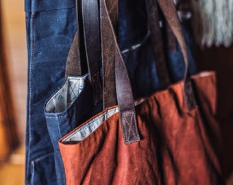 ETEE™ Waxed Canvas Tote | Organic Cotton, Petroleum free, Waxed Canvas | Waxed Canvas Bag | Waxed Canvas Shoulder Bag | Reclaimed Leather