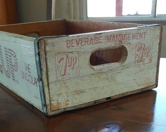 Vintage Wooden 7up Beverage Delivery Crate, Soda Crate, Rustic,Aged, Industrial
