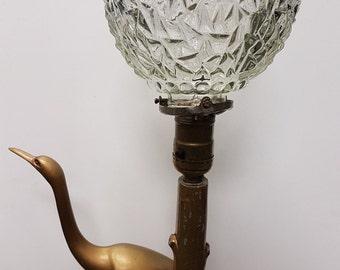 1920's Art Deco Gold Crane Lamp