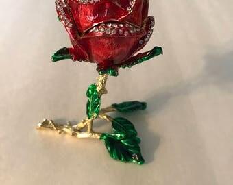 Red Rose Enamel Trinket Box
