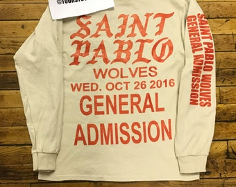 Kanye Saint Pablo Tour THE FORUM Los Angeles Oct. 26th Tan Long Sleeve T-Shirt