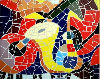 Picasso inspired mosaic Abstract Art Musical Instruments by Yoel Bar FREE SHIPPING