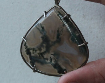 Moss Agate and Sterling Silver Teardrop Pendant