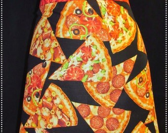Pizza & Roses Half Apron/pizza apron/restaurant apron/waitress/waitress apron/rose apron/food apron/pizza